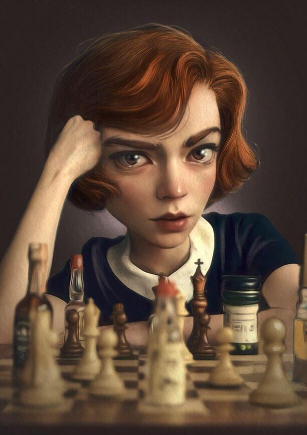 Gambito de dama. Ilustración de Antonio Lorente