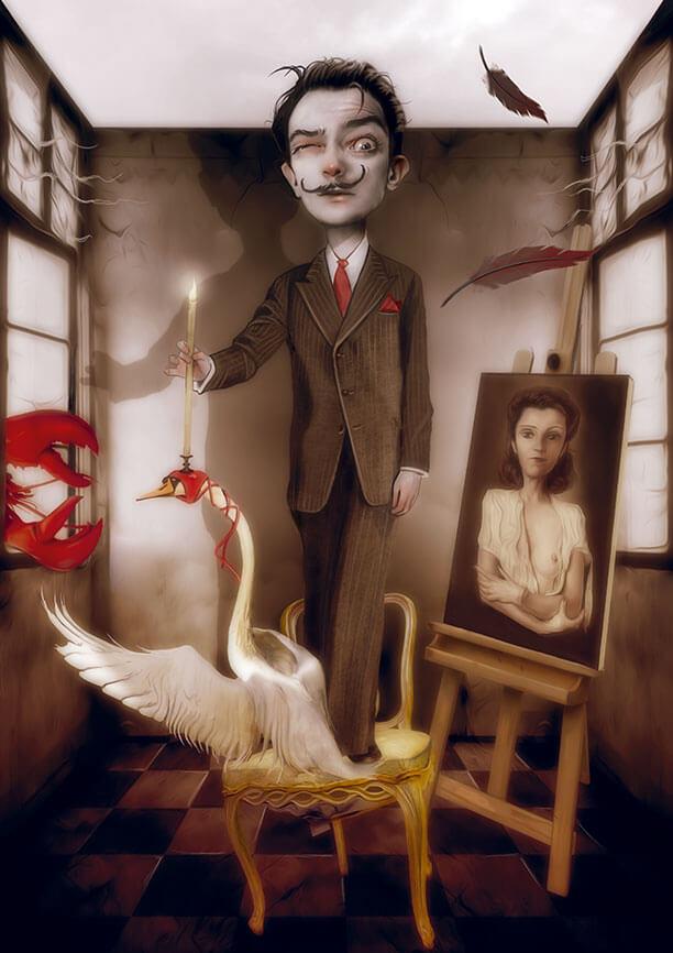 Dalí. Ilustración de Antonio Lorente